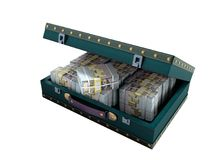 Wooden blue suitcase with one million dollars 3D render on white. Background no shadow vector illustration