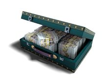 Wooden blue suitcase with one million dollars 3D render on white. Background with shadow stock illustration