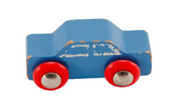 Wooden blue vintage toy car isolated on white Royalty Free Stock Photos
