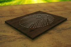 Wooden board with abstract fingerprint Royalty Free Stock Photo