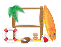 Wooden board with beach icons vector illustration Stock Photos