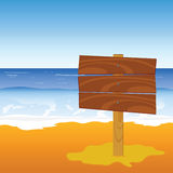 Wooden board on the beach vector Stock Photos