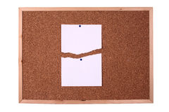 Wooden board with a blank paper note Royalty Free Stock Photography