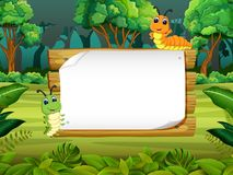 The wooden board blank space with cute caterpillar with forest background stock illustration