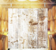 Wooden board. Blank wooden board with winery in the background. Mock up, 3D Rendering Royalty Free Stock Images