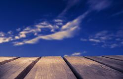 Wooden Board With Blue Sky As Background, Ruby Retro Filter stock photos