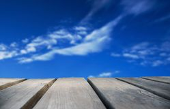Wooden Board With Blue Sky As Background Stock Photography