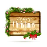 Wooden Board With Christmas Attributes. Vector Illustration Stock Illustration