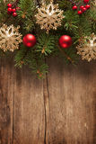 Wooden board with Christmas border Stock Image