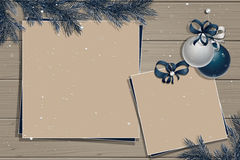 Wooden board with christmas decorations Royalty Free Stock Photo
