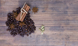 Wooden board with coffee Royalty Free Stock Photos