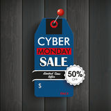 Wooden Board Cyber Monday Red Pin. Wooden board with price sticker and text cyber monday. Sale Stock Photography