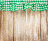 Wooden board decorated with cloth.Kitchen concept background. Royalty Free Stock Photos