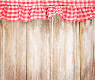 Wooden board decorated with cloth.Kitchen concept background. Stock Photo