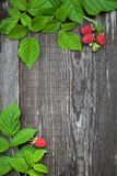 Wooden board decorated raspberry and leaves Stock Photo