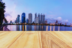 Wooden board with defocus city background. In bangkok Stock Photos