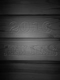 Wooden Board with drawing room 2016 under the tree, texture back. Ground. New year 2016 royalty free illustration