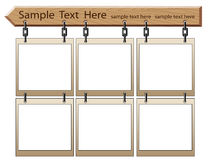 Wooden board with empty frames royalty free illustration