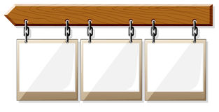 Wooden board with empty frames vector illustration