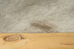 Wooden board empty in front of concrete background. Wooden board empty in front of concrete Royalty Free Stock Photos