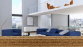 Wooden board empty Table Top And Blur Interior over blur Backgro stock photo