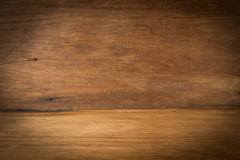 Wooden board empty vintage table in front of perspective brown w Stock Photography