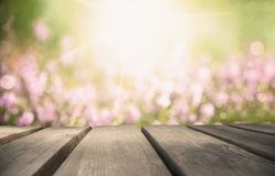 Wooden Board With Erica Flower Field As Background, Bokeh royalty free stock photo