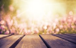 Wooden Board With Erica Flower Field As Background, Ruby Retro Filter royalty free stock photography