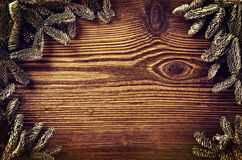 Wooden Board with Fir Branches Royalty Free Stock Photography
