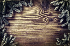 Wooden Board with Fir Branches. With empty space for text stock photos