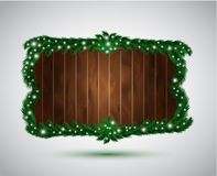 Wooden board with fir branches. This is file of EPS10 format Stock Image