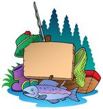 Wooden board with fishing equipment. Illustration Stock Images
