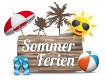 Wooden Board Flipflops Sun Sommerferien Royalty Free Stock Image