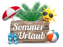 Wooden Board Flipflops Sun Sommerurlaub Palm Royalty Free Stock Photo