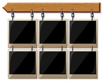 Wooden board with glossy frames vector illustration
