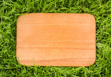 Wooden board on green grass Stock Image