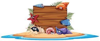 Wooden board on island with seashells. Illustration Stock Images