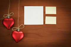 Wooden board with notes for valentine message Royalty Free Stock Images