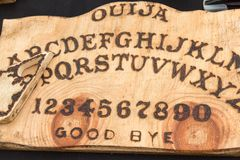 Wooden Board Ouija: Communication with Spirits Stock Images