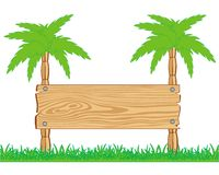 Wooden board and palms Stock Photo