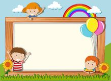 A wooden board with playful children. Illustration vector illustration
