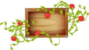 Wooden board with roses Royalty Free Stock Images