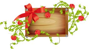 Wooden board with roses Stock Photos