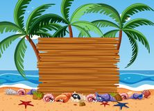 Wooden board with sea animals and ocean in background. Illustration Royalty Free Stock Photo