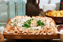 Wooden board served with sliced lard stock photography
