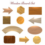 Wooden board set. Wooden sign board label set. Eleven various shapes and types of wood sign boards for price, sale stickers, banners etc. Vector illustration Stock Photo
