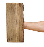 Wooden board sign on hand Stock Photography