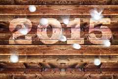 Wooden board 2015 snowballs Royalty Free Stock Photos