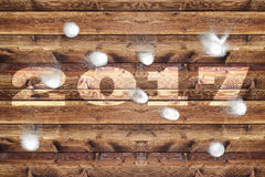 Wooden board 2017 snowballs royalty free stock images