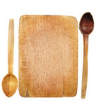 Wooden board and spoons Royalty Free Stock Photography